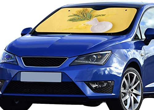 LWZHG SUV Car Windshield Sun Shade Mimosa Bunch Cup Plate On Yellow 55x30 Inch Anti-uv Coating Protect Seats Foldable Polyester and Aluminized Film Funny Car Windshield Sunshade