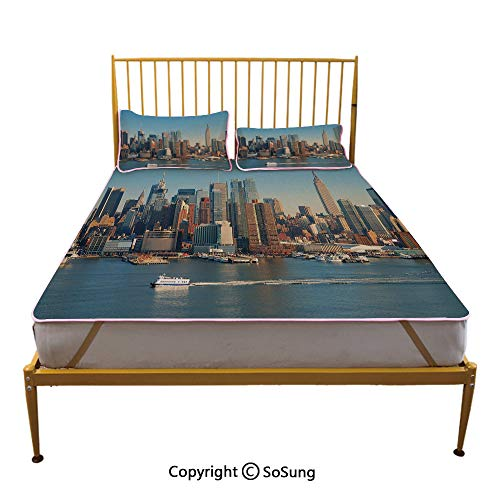 Urban Creative Queen Size Summer Cool Mat,New York City Skyline Over Hudson River Empire State Building Boats and Skyscrapers Sleeping & Play Cool Mat,Blue Brown