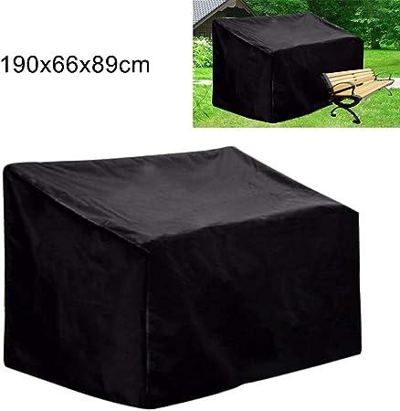 ZFRANC - Funda para banco de jardín de 2 plazas, para sofá de 2 o 3 plazas, Tejido Oxford, negro, 75x26x35inch: Amazon.es: Hogar