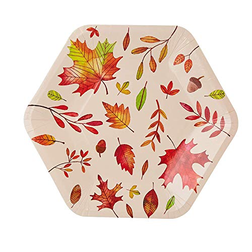 Disposable Plates - 50-Count Thanksgiving Party Paper Plates, Fall Themed Celebrations, Autumn Leaves Hexagon Design, Beige, 9 x 8 -