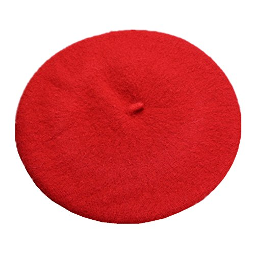 Joyhy Kids Girls Boys Solid Color Classic French Style Beret Beanie Hat Red