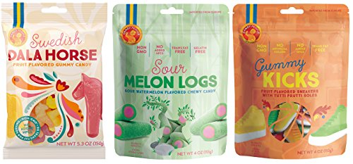 Candy People Swedish Gummy Candy - Sour Melon Logs, Dala Horse, and Gummy Kicks - Fruit Flavored Gummy Candy Pack of 3