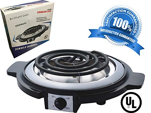 Single Burner Electric Hot Plate Black Single Counter Burner 1000 Watt Stainless Steel Body UL Approved