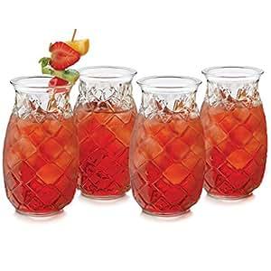 Libbey Pineapple 4-piece Tiki Glass Set