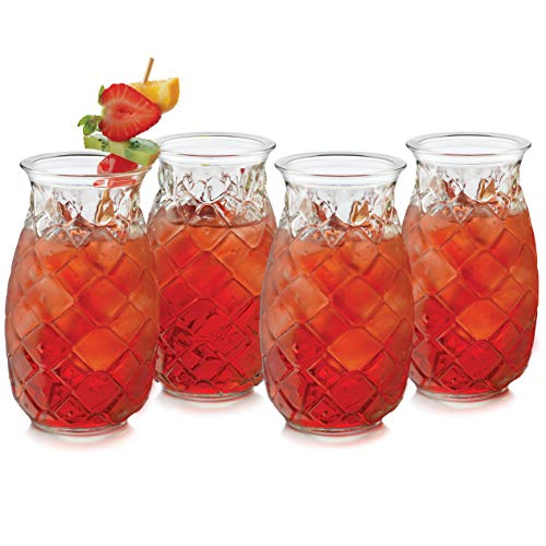 Libbey Pineapple Tiki Glasses, Set of 4
