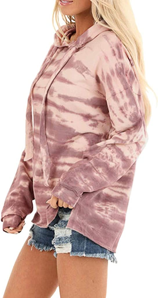 EDC Camo Hoodie for Women Pullover Long Sleeve Tie Dye Drawstring Hooded Sweatshirt Tops Tracksuit Sportswear