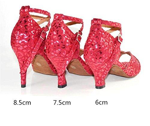 Taogo 6cm de a 40 heel red Sandalias baile Ballroom mujer latino 35 Zapatos de Zapatillas talla wF6qt