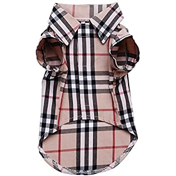 aff716036 CHOLEGIFT Small Dog Puppy Shirt Clothing Cat Cotton Lapel Costume Polo  Apparel - Western Plaid Dog Clothes for Pet