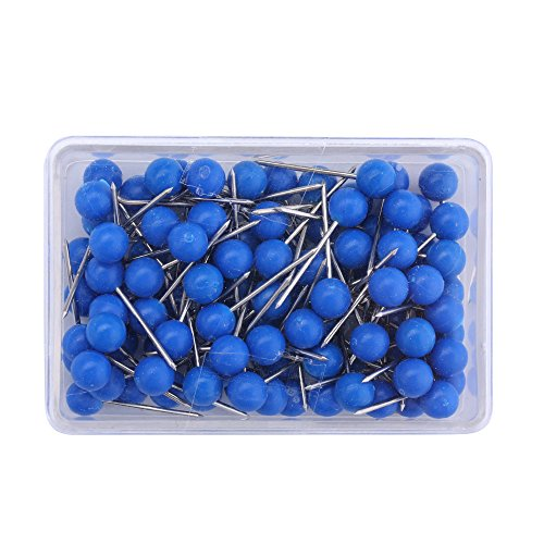 (1/8 Inch Map Tacks, Push Pins, Plastic Round Head, Steel Point,103-Count,Blue)