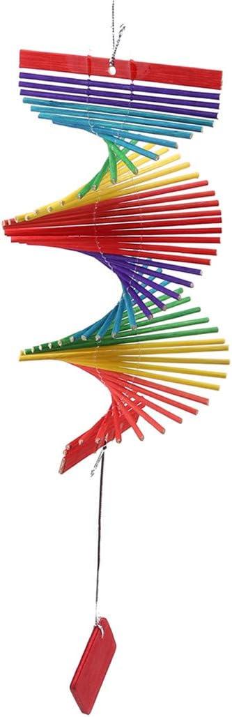 Underleaf 3D Helix Wooden Garden Wind Spinner Wall Hanging Ornament Decoration