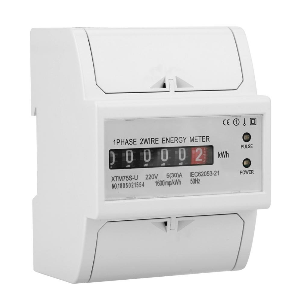 5 A Electric Meter 220V Digital 1-Phase 2 Wire 4P DIN-Rail Energy Wattmeter Electricity KWh Meter for Electric Power Precision Measurement 30