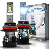TECHMAX Mini 9007 LED Headlight Bulb,60W 10000Lm 4700Lux 6500K Cool White Extremely Bright 30mm Heatsink Base CREE Chips Hi/Lo Conversion Kit of 2