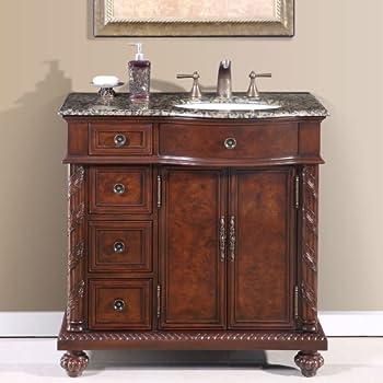 Silkroad Exclusive Countertop Granite Stone Sink Bathroom Vanity With  Cabinet, 36 Inch