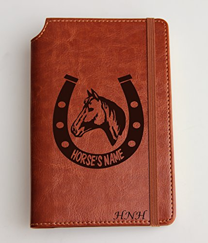 Horseshoe Journal Customizable engraved Journal leather bound, strip with the same color to keep it closed