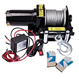 Yescom 2000 lb 0.9HP Electric Recovery Winch Free Gloves for ATV UTV Jeep Trailer Truck 12V