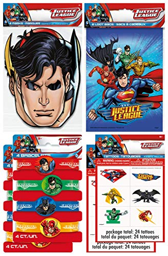 Justice League Birthday Party Supplies Favor Pack With Kids Masks, Treat Bags, Bracelets & Tattoos for 8 Guests -