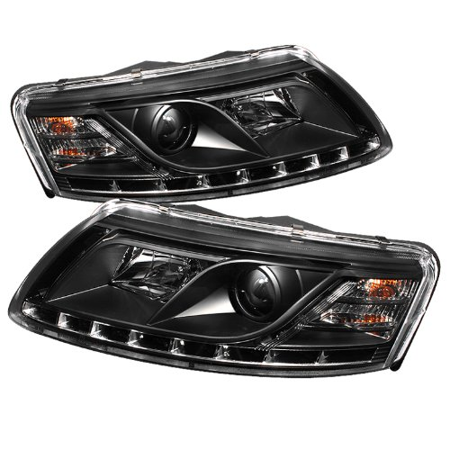 Audi A6 05 06 07 (Non Quattro with AFS) LED-Eyelashes Projector Headlights - Black (Pair)