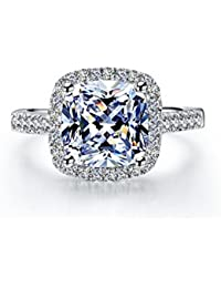 Jewelry 3 Carat VVS1 Simulated Diamond Engagement ring for Women silver Wedding Jewelry