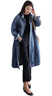 3f2e8a9445079 LD Womens Classic Long Sleeve Jean Lapel Neck Plus Size Washed Long Denim  Coat
