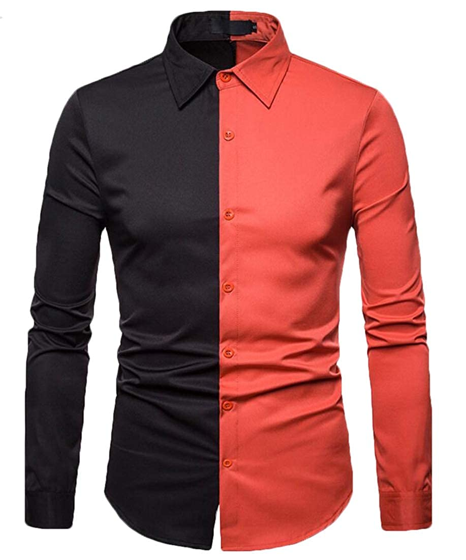 Gocgt Mens Shirt Button Down Long Sleeve Slim Fit Color Block Shirt Casual Top