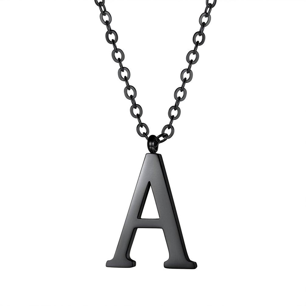 38ba5649661e PROSTEEL Colgante de Letra A-Z Colgante para Mujer Hombre de Acero  Inoxidable Chapado en Negro PSP2801H