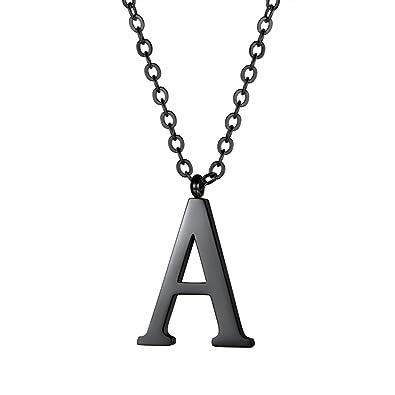97f2f5c62758 PROSTEEL Black Letter Necklace Alphabet Name Jewelry Men Women Personalized  Groomsman Bridesmaid Wedding Minimalist Initial A