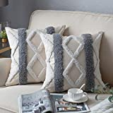 DEZENE Decorative Throw Pillow Covers for Couch Sofa Bed, 2 Pack 100% Cotton Square Pillow Cases, Woven Tufted Pillowcases with Tassels, Tribal Boho Cushion Covers for Farmhouse, Kids, 18 x 18 Inch