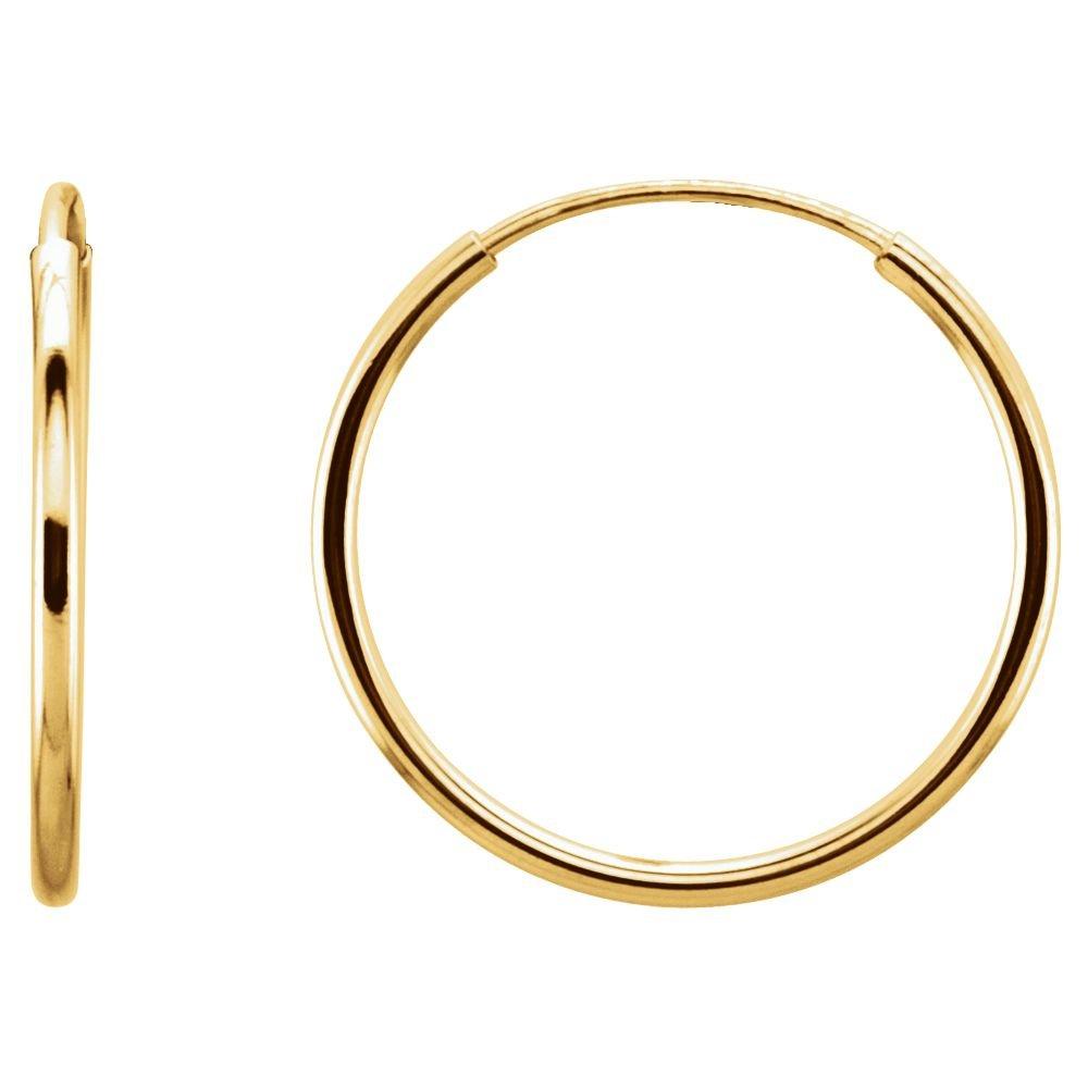 14K Yellow 15mm Endless Hoop Earrings