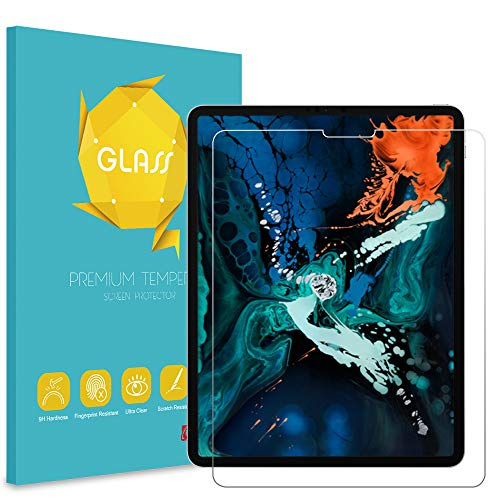 (Fintie Tempered Glass Screen Protector for iPad Pro 12.9 3rd Gen 2018, [Support Face ID] Anti Scratch Premium HD Clear 9H Hardness for All Screen iPad Pro 12.9 inch)