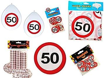 45 Tlg Partyset 50 Geburtstag Dekoset Dekobox Verkehrschild