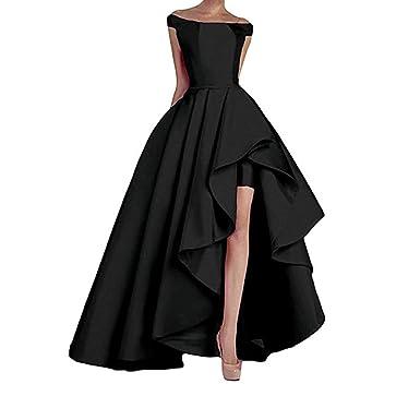 4b42af4b9b8b CongYunGe Elegant Off Shoulder Prom Dresses High Low Satin Evening Dress  Corset Back Black US 2