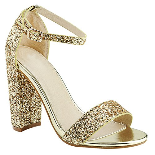 Ankle Buckle Strap Dress Party High Heel Sandal (Light Gold) (Faux Suede Sandals)
