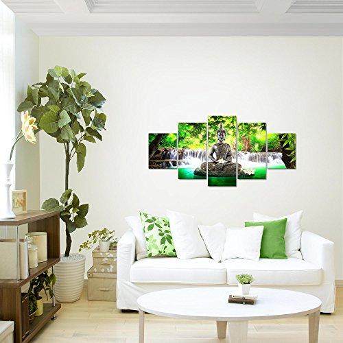 prestigeart-Bilder-Buddha-Wasserfall-Wandbild-Vlies-Leinwand-Bild-XXL-Format-Wandbilder-Wohnzimmer-Wohnung-Deko-Kunstdrucke-Grn-5-Teilig-100-MADE-IN-GERMANY-Fertig-zum-Aufhngen-503552a