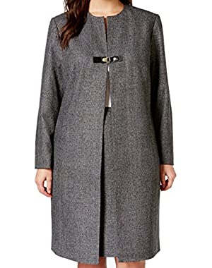 Calvin Klein Charcoal Women's Plus Snap-Buckle Tweed Coat Gray 16W