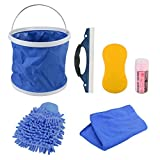 7 Pieces Car Motorcycle Wash Kit Exterior, GOGOLO Car Washing Cleaner Tool Including Wash Mitt Sponge Water Absorption Towel Microfiber Cloths Window Water Blade Water Bucket, Make Your Car Brand New