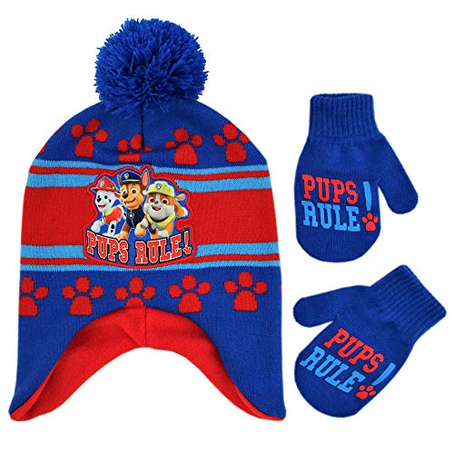 Nickelodeon Boys Toddler Paw Patrol Character Pups Rule Hat and Mittens Set, Blue/red, Age 2-4