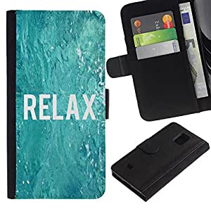 Billetera de Cuero Caso Titular de la tarjeta Carcasa Funda para Samsung Galaxy S5 Mini, SM-G800, NOT S5 REGULAR! / relax surfing surfer blue water ocean / STRONG