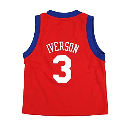 cb1a83349 adidas Allen Iverson Philadelphia 76ers NBA Toddler Red Official Road  Rrelica Basketball Jersey (2T)