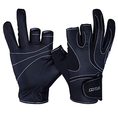 Goture Anti-slip Fishing Gloves for Men Waterproof Skidproof 3 Fingerless outdoor sports