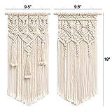 Mkono 2 Pcs Macrame Woven Wall Hanging Boho Chic
