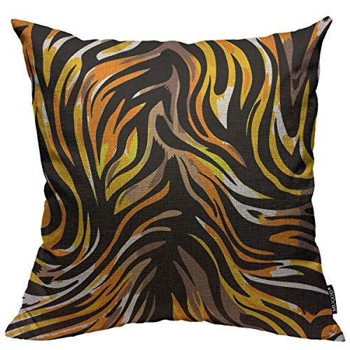 Mugod Tiger Striped Pattern Throw Pillow Cover Seamless Abstract Wild Exotic Animal Leopard Print Decorative Square Pillow Case for Home Bedroom Living Room Cushion Cover 18x18 Inch