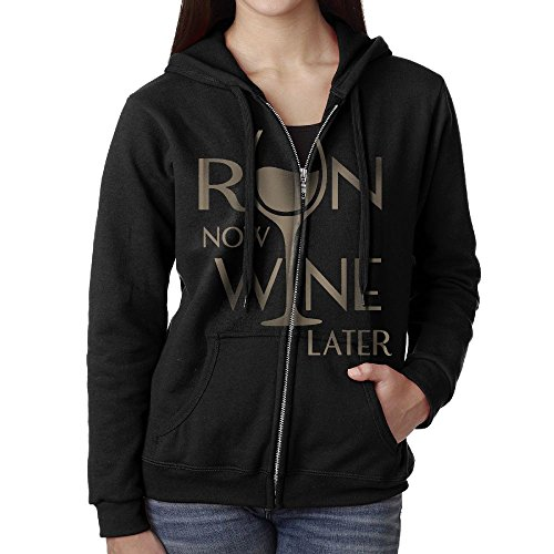 Run Now Wine Later Women's Coat,Long Sleeve Zipper Hoodie For Women (Bottle Holder Wine Sweater)