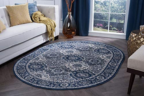 Newcomb Traditional Oriental Navy Oval Area Rug, 5 x 7 Oval