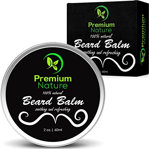 Beard Balm Leave In Conditioner - All Natural Beard Oil Wax for Beard Mustache & Hair Growth, Deep Beard Softener Cream Butter, Soothes Softens Tames & Styles Hair, Beard Care Kit Best Gift for Men