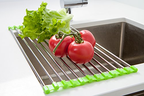Over the Sink Multipurpose Roll-Up Dish Drying Rack Stainless Steel (Hanging Dish Warmer)