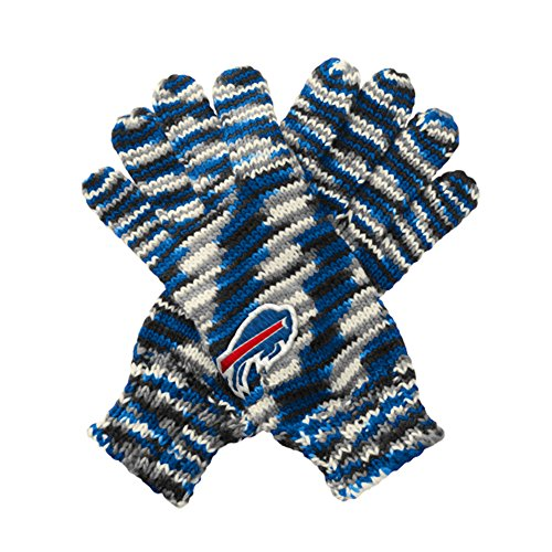 Touch by Alyssa Milano NFL Buffalo Bills Gloves Off Space Dye Striped Gloves, One Size, Royal/Black/Grey