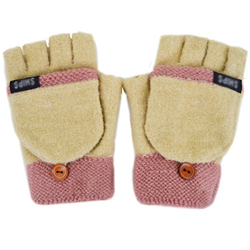 Adela Boutique Women Dual Color Knitting Winter Fingerless Gloves Convertible Flap Cover Warm Mitten Beige ()