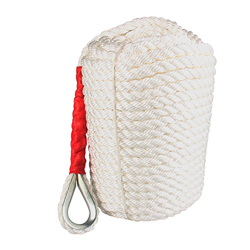 Twisted Anchor Rope, 3/4 inch 200 Feet White Line Nylon Three Strand Twisted Dockline Braided Anchor Rope Boat Sailboat Line with Thimble 12592LB Breaking Strain (Three Anchor Strand Lines)