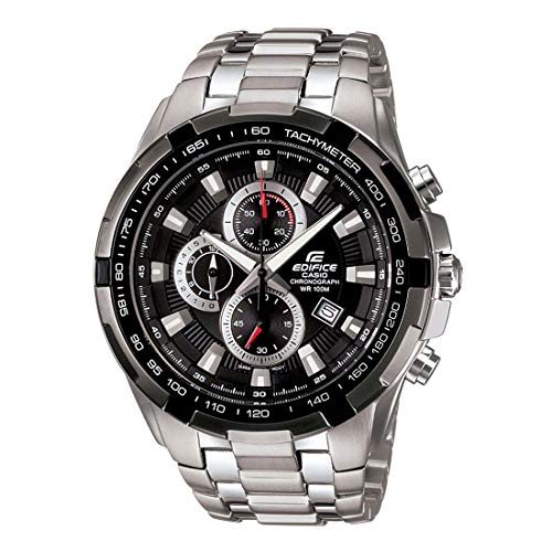 Men's Stainless Steel Edifice Black Dial Tachymeter