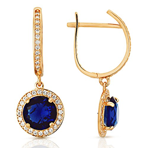 Round Halo Blue Stone Dangling Earrings in 14K Yellow Gold by Jewel Connection